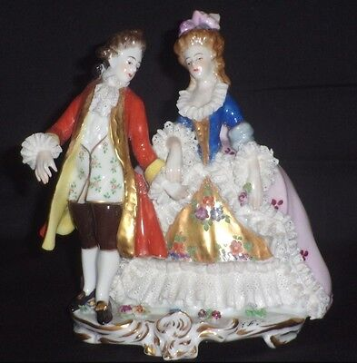 Antique German Porcelain Volkstedt Dresden Lace Courting Couple Figurine Group