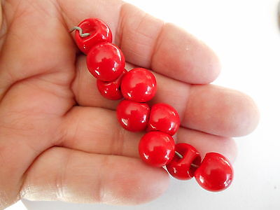 Antique/vintage 9 Terrific Red Glass Ball Buttons #269