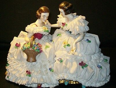Antique German Porcelain Volkstedt Victorian Lady Dresden Lace Figurine Group