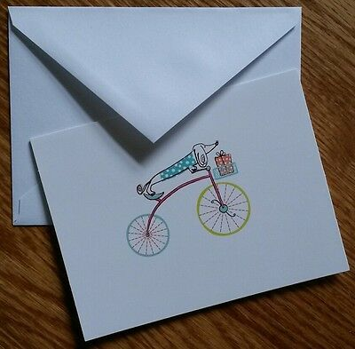 Set of 8 Blank Greeting Note cards & Envelopes  ~ Dog On A Bike With A Gift