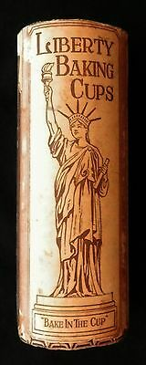 Antique Advertising Tube LIBERTY BAKING CUPS   Wonderful Grapics MUST SEE Rare !