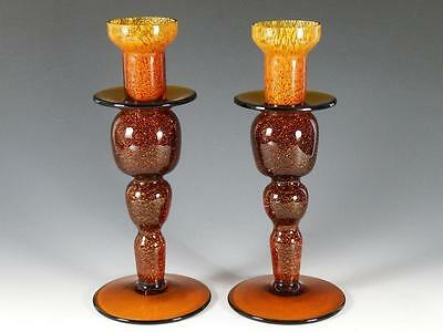 Pair Vintage Art Glass Vintage Glitter Glass Candlesticks/ Candle Holders