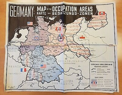 Germany: Map of the Occupation Areas | Karte Der Besatzungs-Zonen CCG BAOR WW2