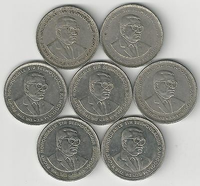 7 - 1 RUPEE COINS from MAURITIUS (1987, 1991, 1997, 2002, 2004, 2005 & 2010)