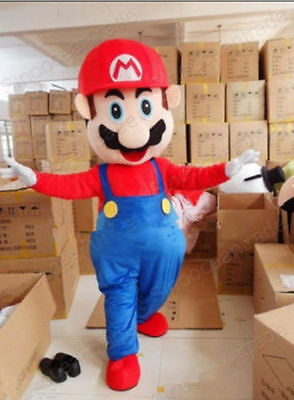 Adult Size Super Mario Mascot Costume Fancy Dress Lovely Brothers Suit