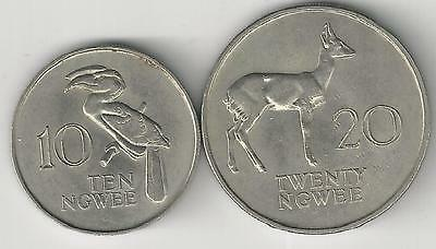 xx From Accumulation - 2 COINS from ZAMBIA - 10 & 20 NGWEE (BOTH DATING 1968)