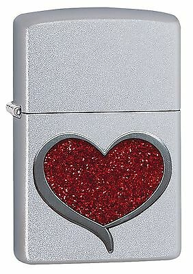 Zippo Windproof Lighter With Red Glitter Heart Emblem, 29410, New In Box