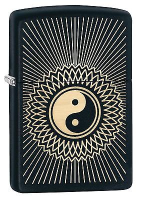 Zippo Windproof Black Matte Lighter With Yin & Yang Design,  29423 New In Box