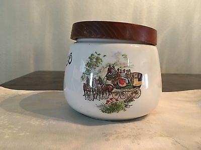 Vintage Tobacco Jar Humidor Wagon Stage Coach Design Whitecross Italy