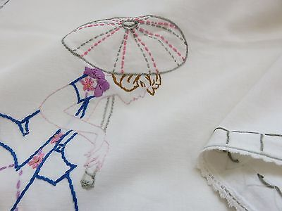 """Vintage Cotton Hand Embroidered Tablecloth 29 x 31"""" Umbrella Lady Pink Flowers"""