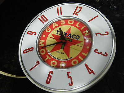 Rare Texaco Gas Station Oil Service Wall Clock 7 1/2 In Antique General Electric