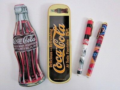 Lot of Four 1996 Coca-Cola Coke Ceramic Roller Ball Pens & Two Collector Tins