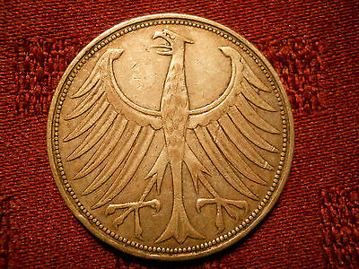 Germany - Federal Republic 5 Mark, 1951 G Karlsruhe Mint silver coin