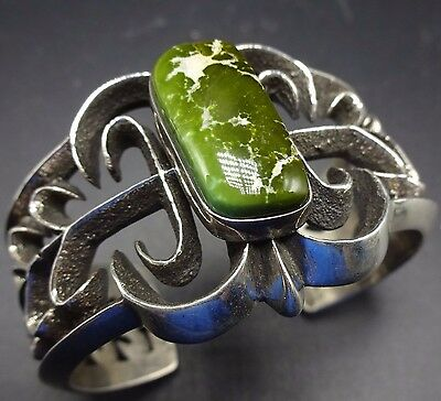Aaron Anderson NAVAJO TUFA CAST Sterling Silver & ARMY GREEN Turquoise BRACELET