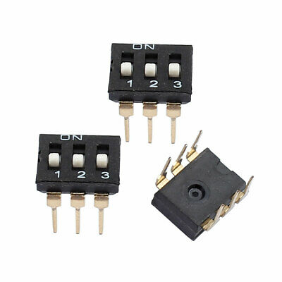 3 Pcs 2.54mm Pitch 3 Position 6 Pin Terminal IC Type DIP Switch Black