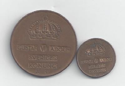 2 OLDER COINS from SWEDEN - 1 & 5 ORE (BOTH 1953)