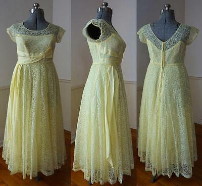 GLAM Vintage Late 50's Illusion Yellow Lace & Taffeta Party Cocktail Prom Dress