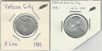 xx From Accumulation - 2 OLDER COINS..the VATICAN..5 & 10 LIRE..ALL DATING 1951