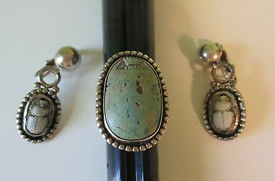 Large Antique Egyptian Revival Scarab Ring Earrings Set Sterling Silver Carved 7