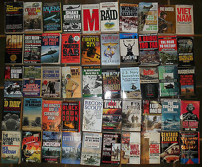 Lot of 58 World War 2 and Vietnam paperback fiction books