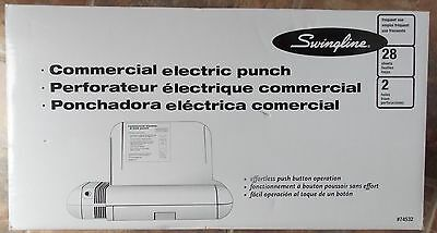 Swingline Commercial Electric 2 Hole Paper Punch ~ NEW 28 Sheets