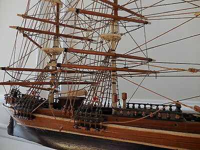 Antique Handmade Wooden Ship Model Cutty Sark Sailing Boat Nautical Home Decor