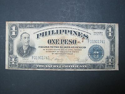 Philippines 1 Peso 1944 Sharp #66 Blue Victory Banknote Usa Wwii Paper Money