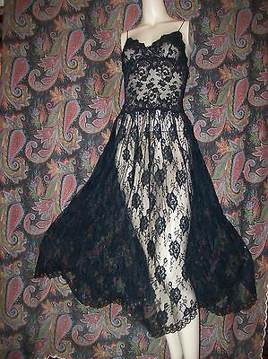Vintage Hanky Panky All Lace Sheer Black Nightgown Nighty Lingerie S