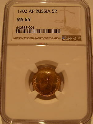 Russia 1902 Gold 5 Roubles NGC MS-65 Nicholas II