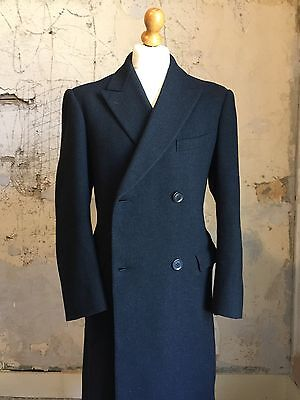 Vintage 1940's style 1960's bespoke grey double breasted overcoat size 40