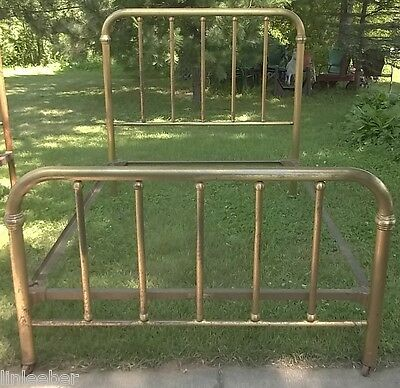 Antique Double/Full Size Brass-Finish Iron Bed;Rails;Farm Country Vintage Charm