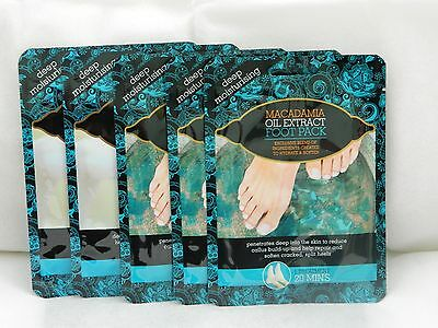 6 x PAIRS OF  MACADAMIA OIL EXTRACT FOOT PACKS DEEP MOISTURISING SOCKS