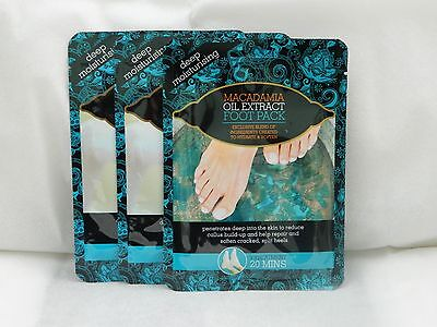 3 x PAIRS OF  MACADAMIA OIL EXTRACT FOOT PACKS DEEP MOISTURISING SOCKS