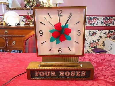 """Vintage """"FOUR ROSES"""" Whiskey Lighted Clock Advertising Bar Display Working"""