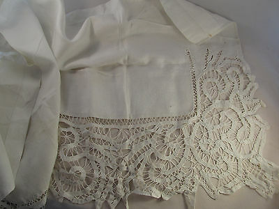 TRUE Vintage Antique Victorian Edwardian Battenburg Tape Lace Edged Mantle Scarf
