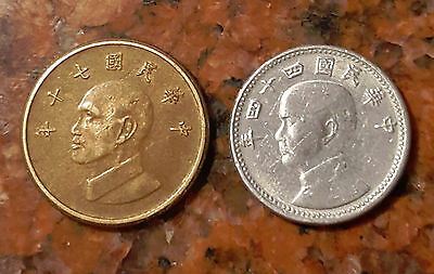 Lot Of (2) Taiwan (Formosa) Coins - F203