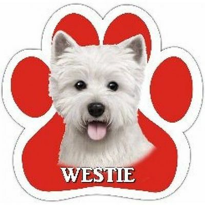 Westie West Highland White Terrier Dog Breed Paw Print Magnet (UV Coated)