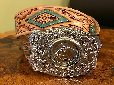 Western Tooled Leather Belt Silver Horse Buckle Size 32 EUC Chambers Belt Co.
