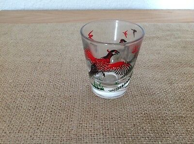 One vintage pheasant shot glass 2 birds anchor hocking