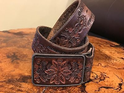 Vintage Western Tooled Leather Belt with Leather and Brass Buckle EUC Size 33-34