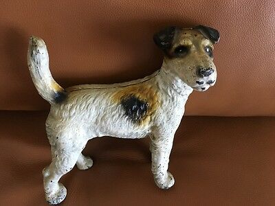 Antique Cast Iron Wire Haired Fox Terrier Doorstop