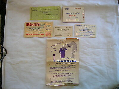 VINTAGE LOT OF HAVANA, CUBA STORE and RESTAURANT ADVERTISING CARDS ETC. 1950's