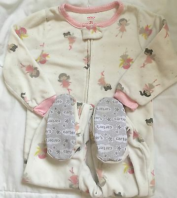 Carter's white pink fairy blanket sleeper Sz 2T  zip up footed pajamas
