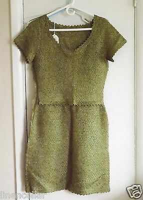 Vintage Dress 1970 RIBBON Dress hand made Oliver Green Silk Size Small