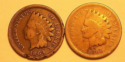 **1864Bz & 1865  Indian Head Cents   Scarce Old Coins **