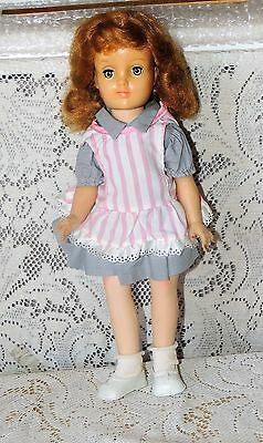 Ideal Doll  MK14 Orig Harriet Hubbard Ayers Gray Dress & Pink Striped Pinafore