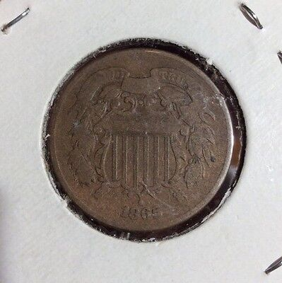 1865 2C Coin. Collector Coin For Your Set Or Collection. Free Ship