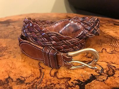 Coach Leather Belt braided with brass buckle size 36