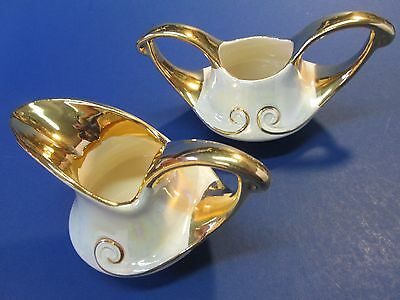 Vintage Mother Of Pearl China Style Creamer And Sugar Bowl White And 22K