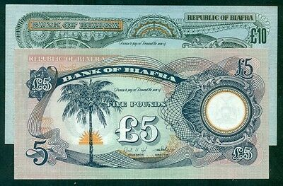BIAFRA - ND (1968 - 69) 5 + 10 Pounds UNC - WITHOUT SERIAL NUMBER - Scarce